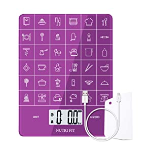 Rechargeable Food Scale Digital Kitchen Scale Multifunction with Dough Scraper by NUTRI FIT, High Accuracy, Portable and Tare Function, 11lb/5kg Baking & Cooking Scale, Purple