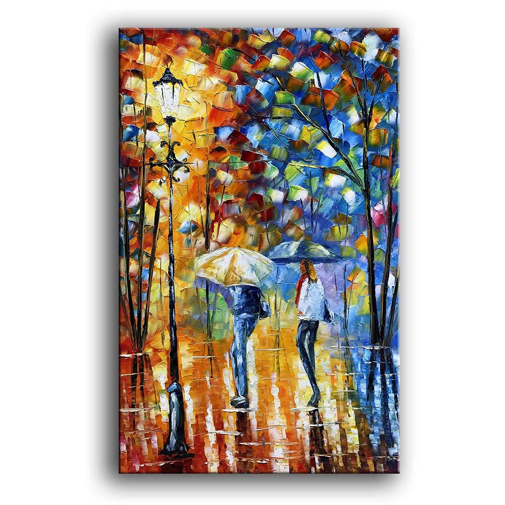 YaSheng Art 100% handmade Landscape Oil Painting on Canvas Rain Street Tree Lamp Texture Palette knife Abstract Landscape Art Paintings Canvas Wall Art Modern House living room Decor large Art Picture