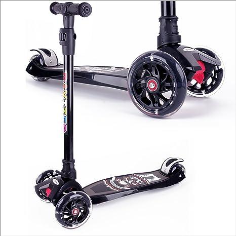 BAYTTER Kinderscooter Dreirad mit verstellbarem Lenker Kinderroller Roller Scooter LED Blinken für Kinder ab 3 4 5 Jahren, bi