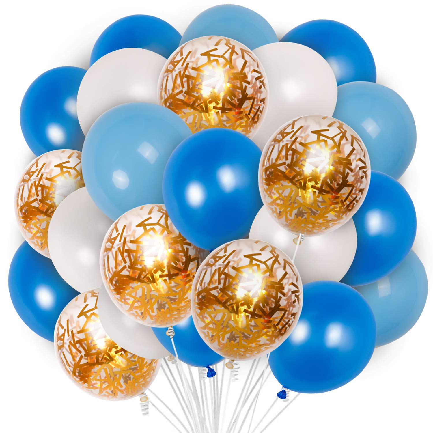 PartyWoo Blue and Gold Balloons, 12 Inch Royal Blue Balloons, Baby Blue Balloons, Gold Confetti Balloons, Blue and White Balloons, Blue White Gold Balloons for Blue and Gold Party Decorations