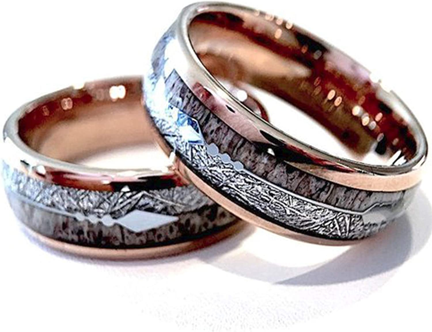 It is a graphic of Rose Gold Tungsten Ring, Antler Ring, Wood Ring, Mens Tungsten Band, Arrow Inlay Ring, Men Wedding Band