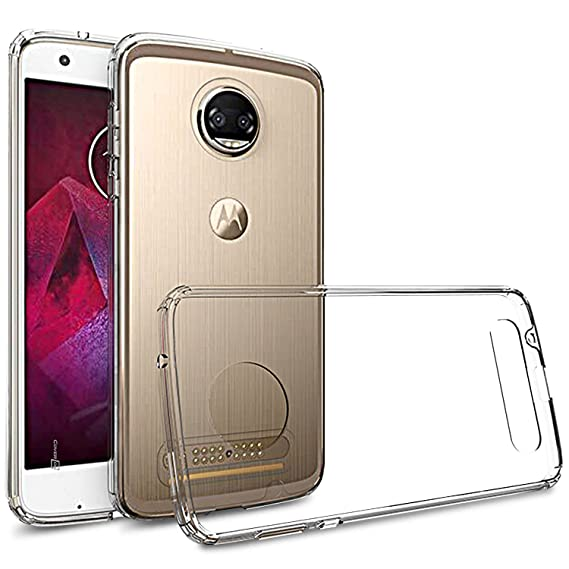 new arrival e3c88 9cd7a Moto Z2 Force Case, CoverON [ClearGuard Series] Hard Clear Back Cover with  Flexible TPU Bumpers Slim Fit Phone Cover Case for Motorola Moto Z2 Force -  ...