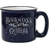 Bad Bananas - Gifts for Librarians, Book Lovers, Writers - Bookmarks Are For Quitters Mug - 15 oz Funny Enamel Bookish Coffee