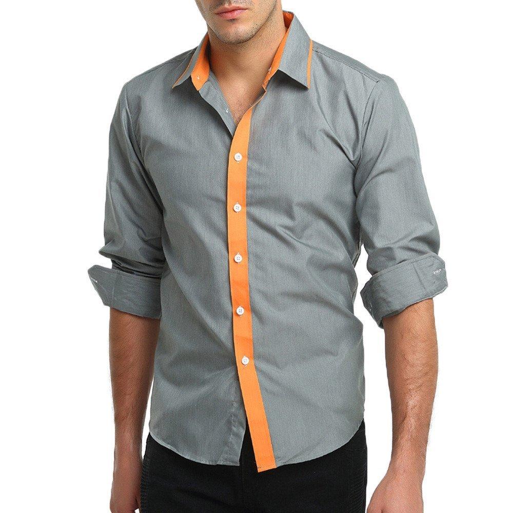 Men's Shirt, Clearance Sale !! Farjing Men's Autumn Casual Formal Patchwork Slim Fit Long Sleeve Shirt Top Blouse(M,Grey)