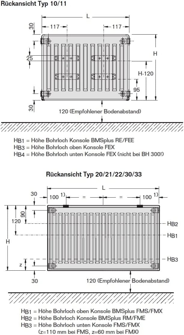Buderus Kompaktheizk/örper Typ 22 400 x 1400 H/öhe x Breite in mm C-Profil Kompakt Heizk/örper Flachheizk/örper