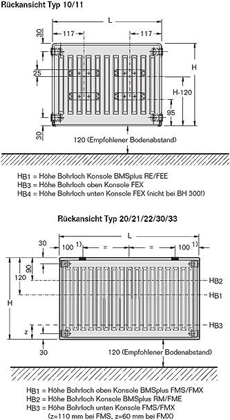 Buderus Ventilheizk/örper Typ 22 400 x 2300 H/öhe x Breite in mm VC-Profil Heizk/örper Ventilheizk/örper mit Wandkonsole