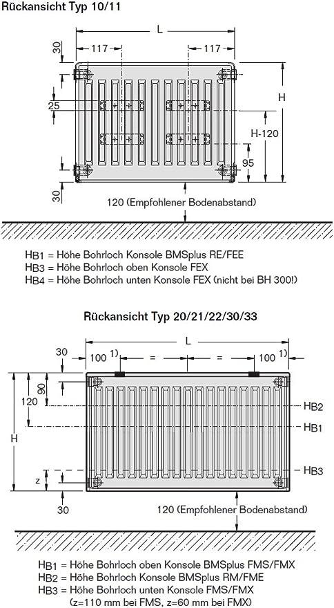 Buderus Kompaktheizk/örper Typ 22-600 x 500 mit Halter