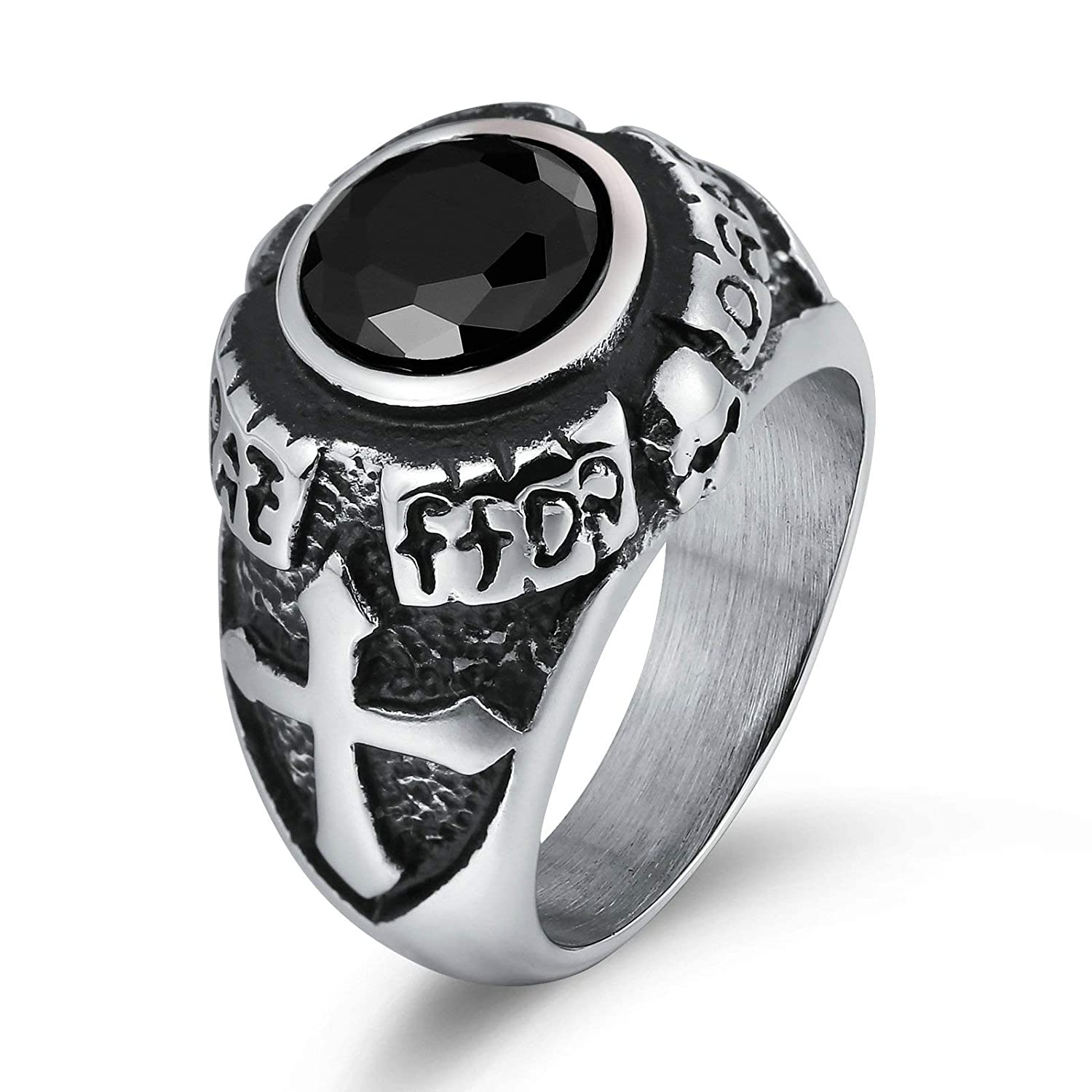Aooaz Punk Rings Gemstone Engraved Lines Nugget Shape Thumb Ring Stainless Steel Black US Size 10