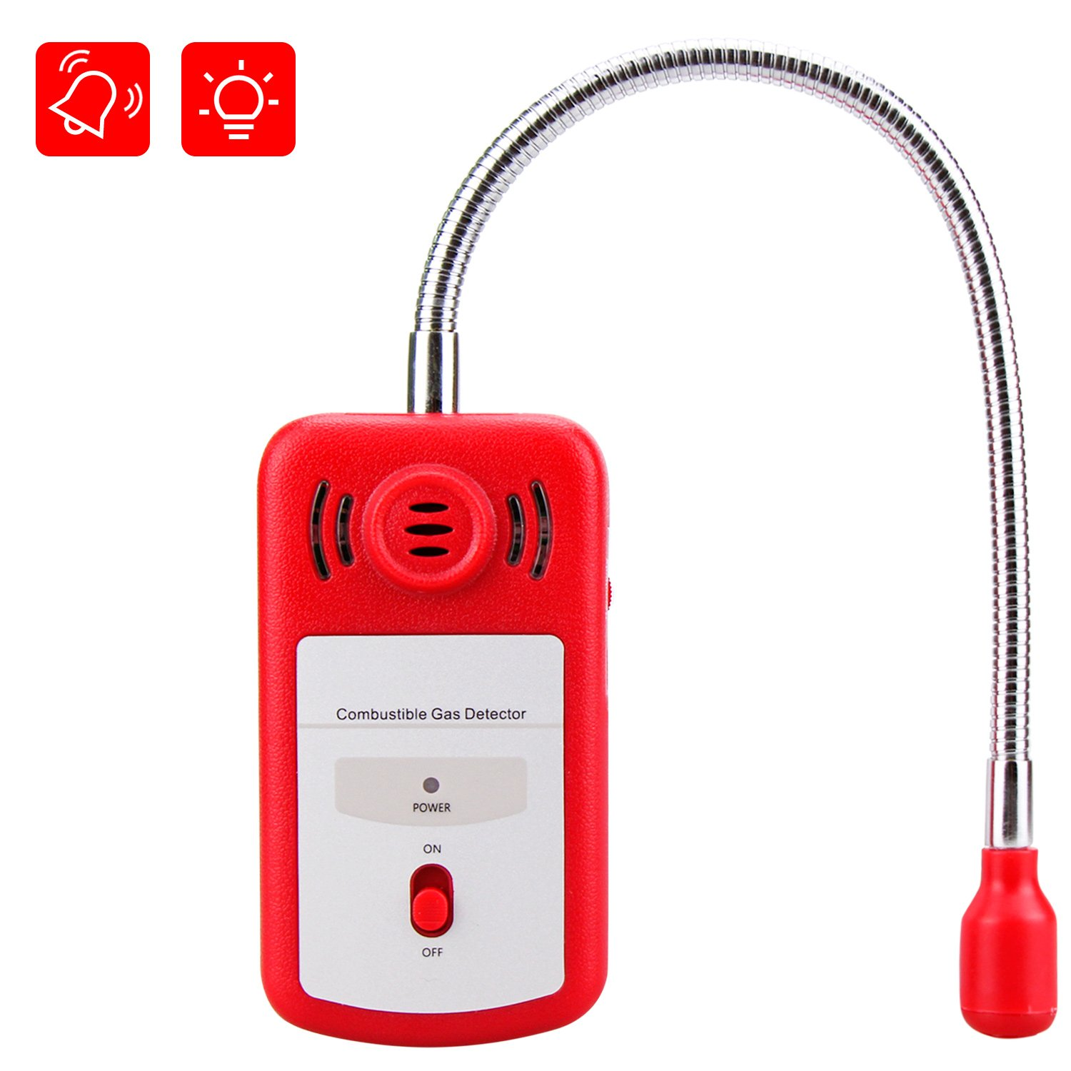 Gas Leak Detector, Sungwoo Combustible Gas Detector, Natural Propane Methane Gas Leak Detector Sniffer with Audible & Visual Alarm Sensor Monitor for Home & Chemical Plant Safety (RED)