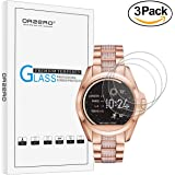 [3 Pack] Orzero For Michael Kors Bradshaw (MKT5001 MKT5013) Smart Watch Tempered Glass Screen Protector, 2.5D Arc Edges 9 Hardness HD Anti-Scratch Bubble Free [Lifetime Replacement Warranty]