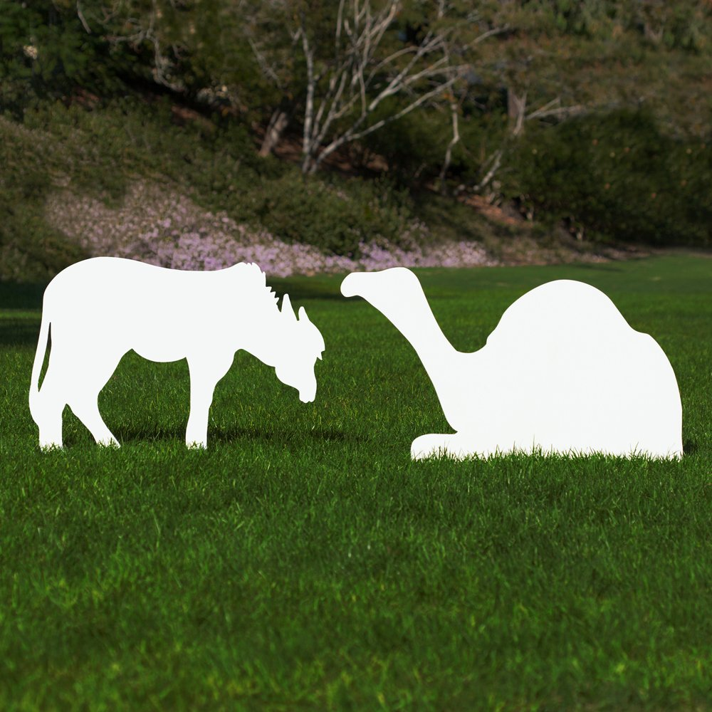 Outdoor Nativity Store Outdoor Nativity Set Add-on - Donkey and Camel (Life-size, White)