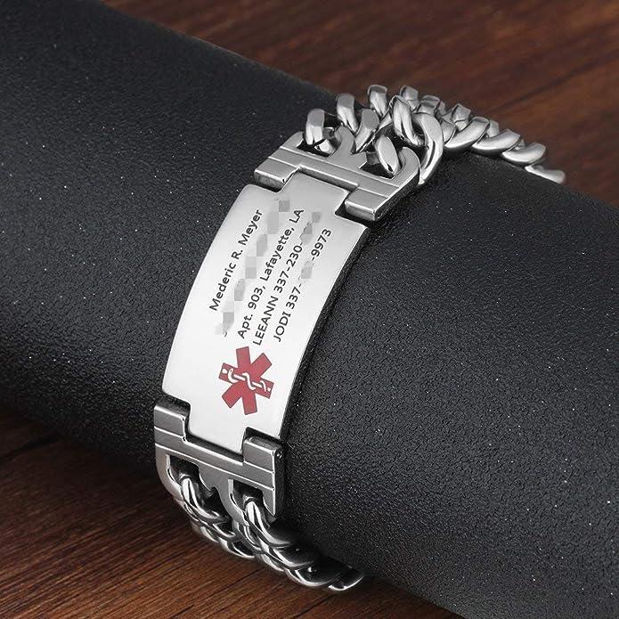 Leder Medizinisches Notfall Armband Verschiedene Größen Kostenlose Gravur