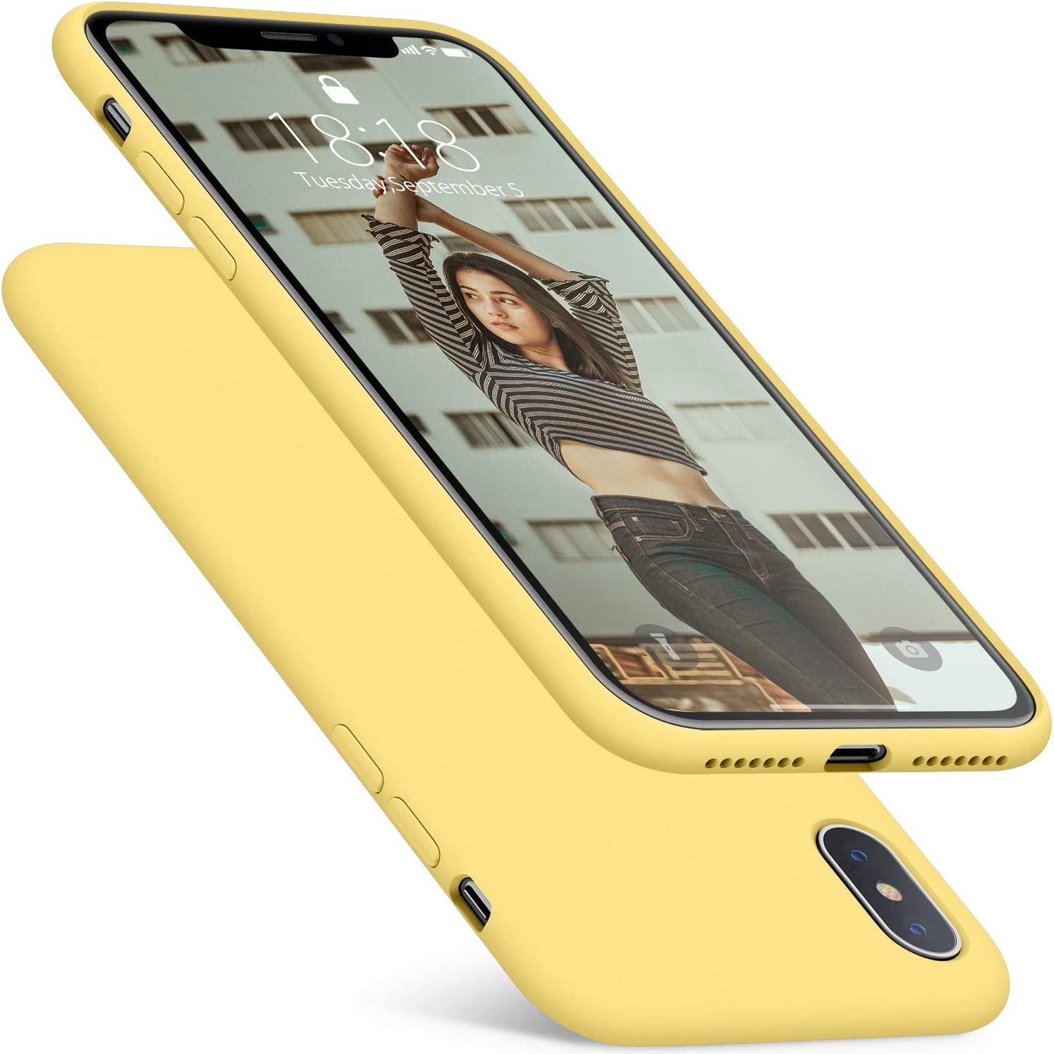 DTTO Compatible with iPhone Xs Max Case, 7 Colors Silicone Case [Romance Series] Slim Fit Cover with Hybrid Protection for iPhone 10s Max 6.5 Inch (2018 Released) - Yellow