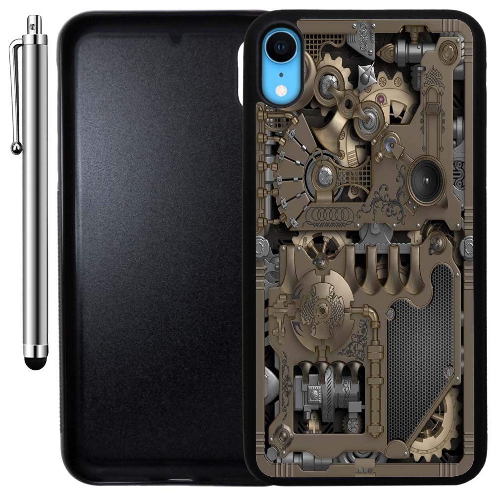 Custom Case Compatible With Iphone Xr Steampunk Mechanical Gears Edge To Edge Rubber Black Cover Ultra Slim Lightweight Includes Stylus Pen By