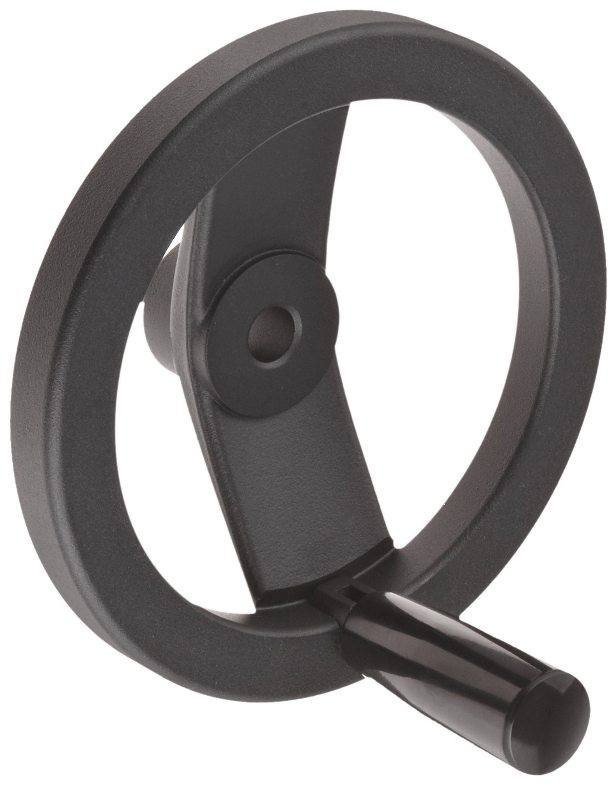 2 Spoked Black Powder Coated Aluminum Dished Hand Wheel with Fold-A-Way Handle, 6'' Diameter, 1/2'' Hole Diameter (Pack of 1)