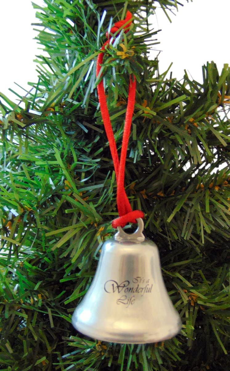 GiWuh Its a Wonderful Life Christmas Angel Wings Bell Ornament with Ribbon for Christmas Tree Decorations Bells Xmas Gifts