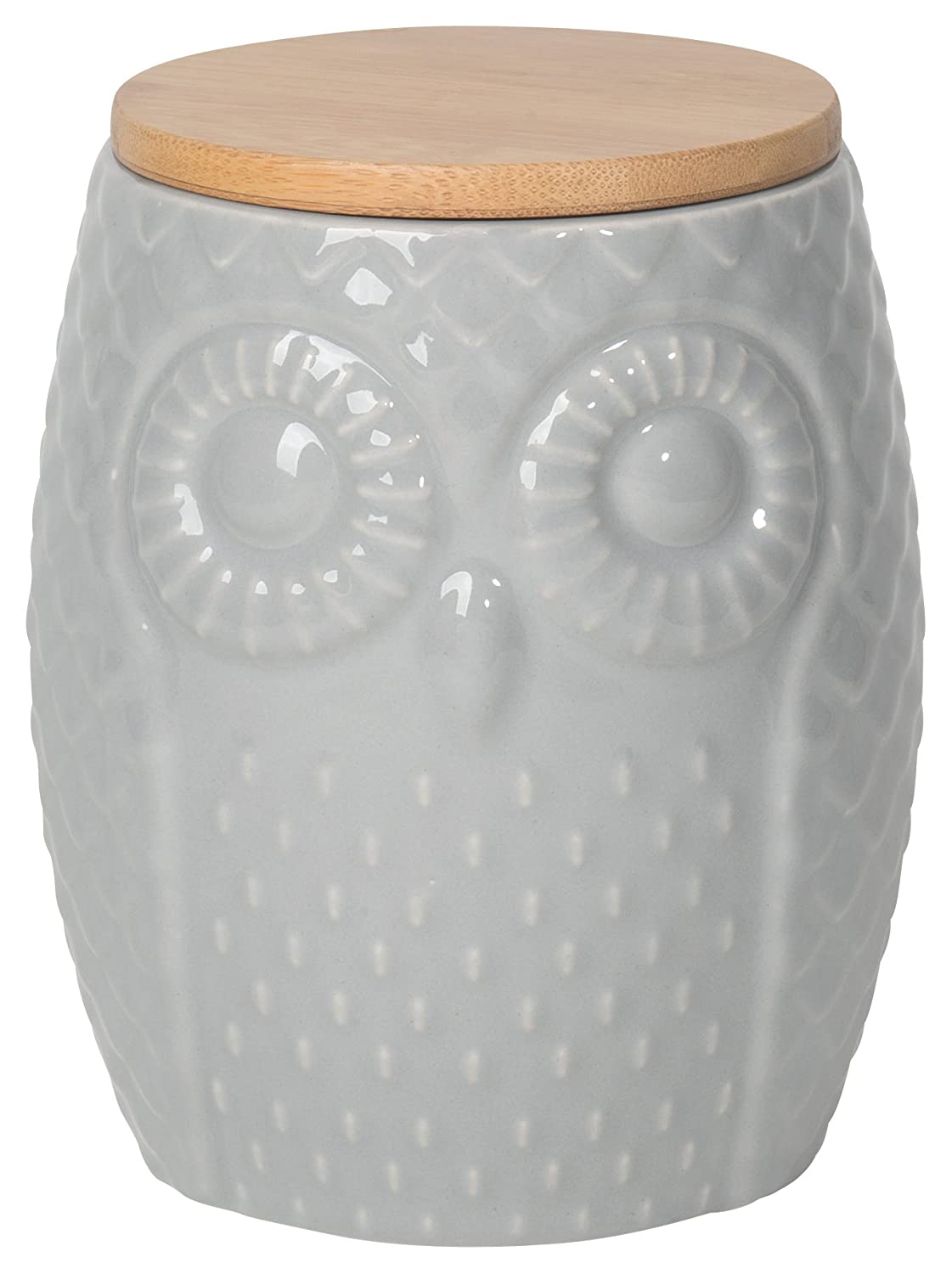 Now Designs Owl Canister, Gray, Large 5066001aa