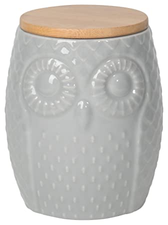 Now Designs Owl Canister, Gray, Large