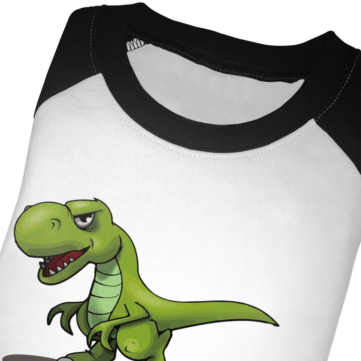 Manlee Cartoon Green Dinosaur Unisex 100/% Cotton Childrens 3//4 Sleeves T-Shirt Top Tees 2T~5//6T
