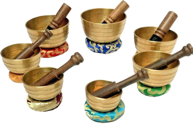 ALL SIZE SINGING BOWL HAND MADE RING CUSHION CHAKRA SET 7 TIBETAN