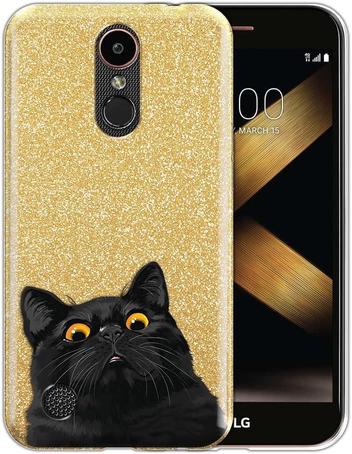 FINCIBO Case Compatible with LG K20 Plus/Harmony VS501/ LV5 K10 2017 M250 M257, Shiny Sparkling Gold Bling Glitter TPU Protector Cover Case for LG K20 Plus - Cute Black Bombay Kitten Cat