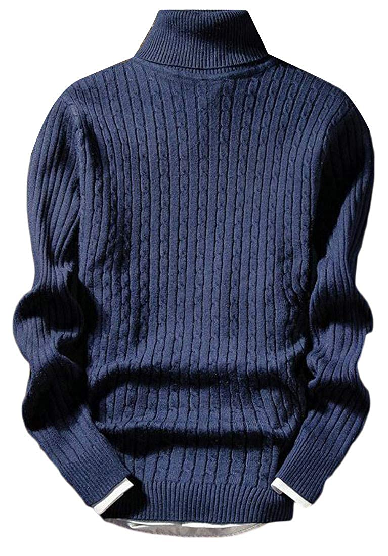 Sweatwater Mens Casual Cable Knit Turtleneck Fall Winter Sweater Jumper