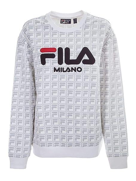 Fila Felpa Donna F16M918209 Cotone Bianco: Amazon.it
