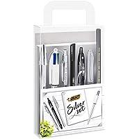 BIC Silver Writing Office School University Set - 1 Notebook/3 Ball Pens/1 Gel Pen/1 HB Graphite Pencil/1 Felt Pen/1 Mechanical Pencil