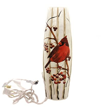 Amazon Stony Creek Cardinal Lighted Vase Tall Glass Electric