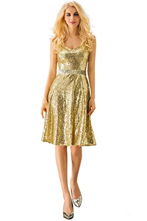Huifany Womens A-Line Spaghetti Straps Gold Sequins Bridesmaid Dress Knee Length,US2