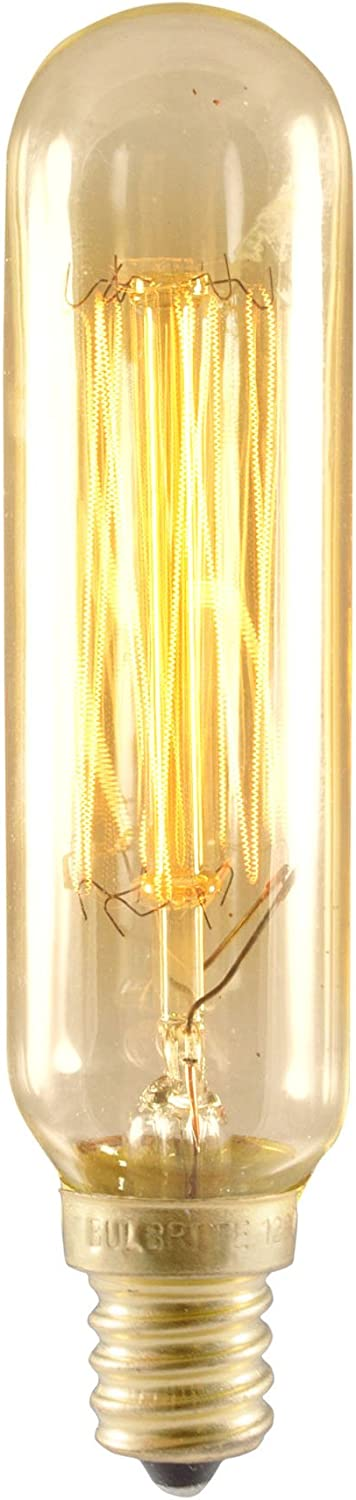 Bulbrite NOS25T6/SQ/E12 25-Watt Nostalgic Incandescent Edison T6 Tube, Vintage Thread Filament, Candelabra Base, Antique [6 Pack]