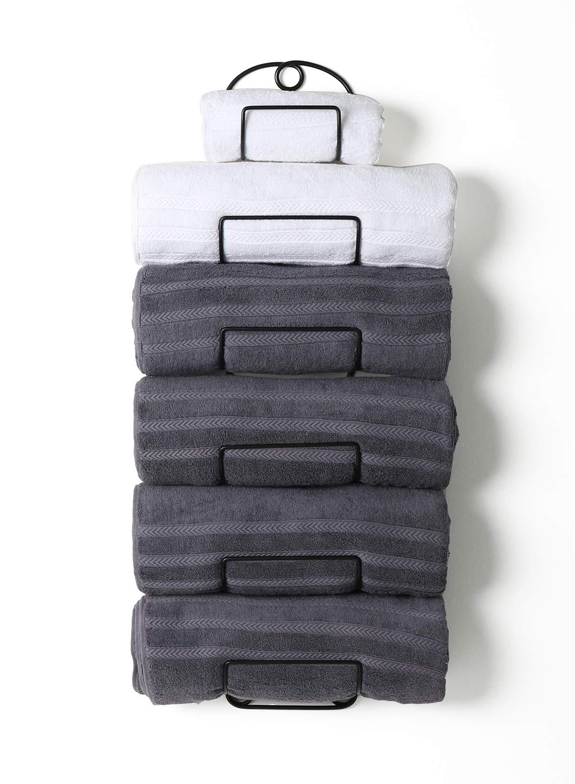 SODUKU Towel Rack Wall Mounted Metal Wine Rack Towel Shelf for Bathroom Black by SODUKU