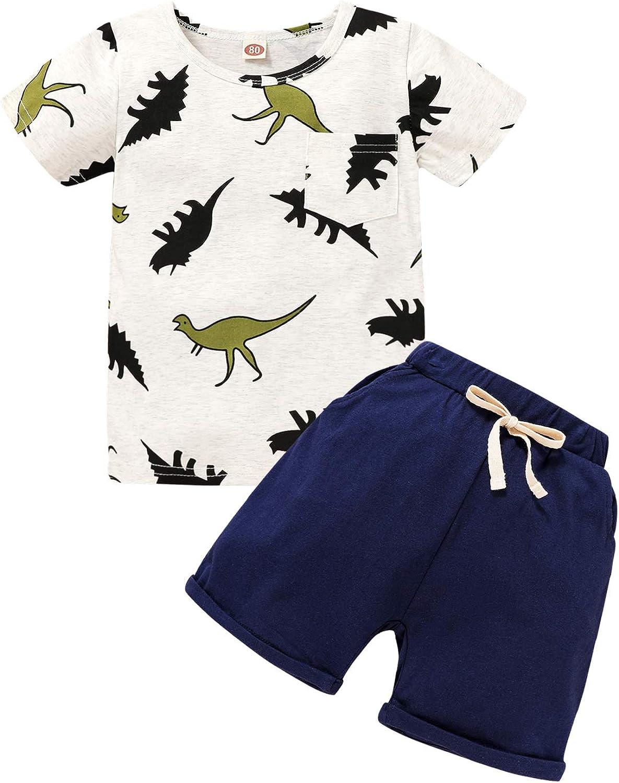 Toddler Baby Boy Summer Outfits Dinosaur Print Shirt Top Short Pants Cotton Clothes Sets
