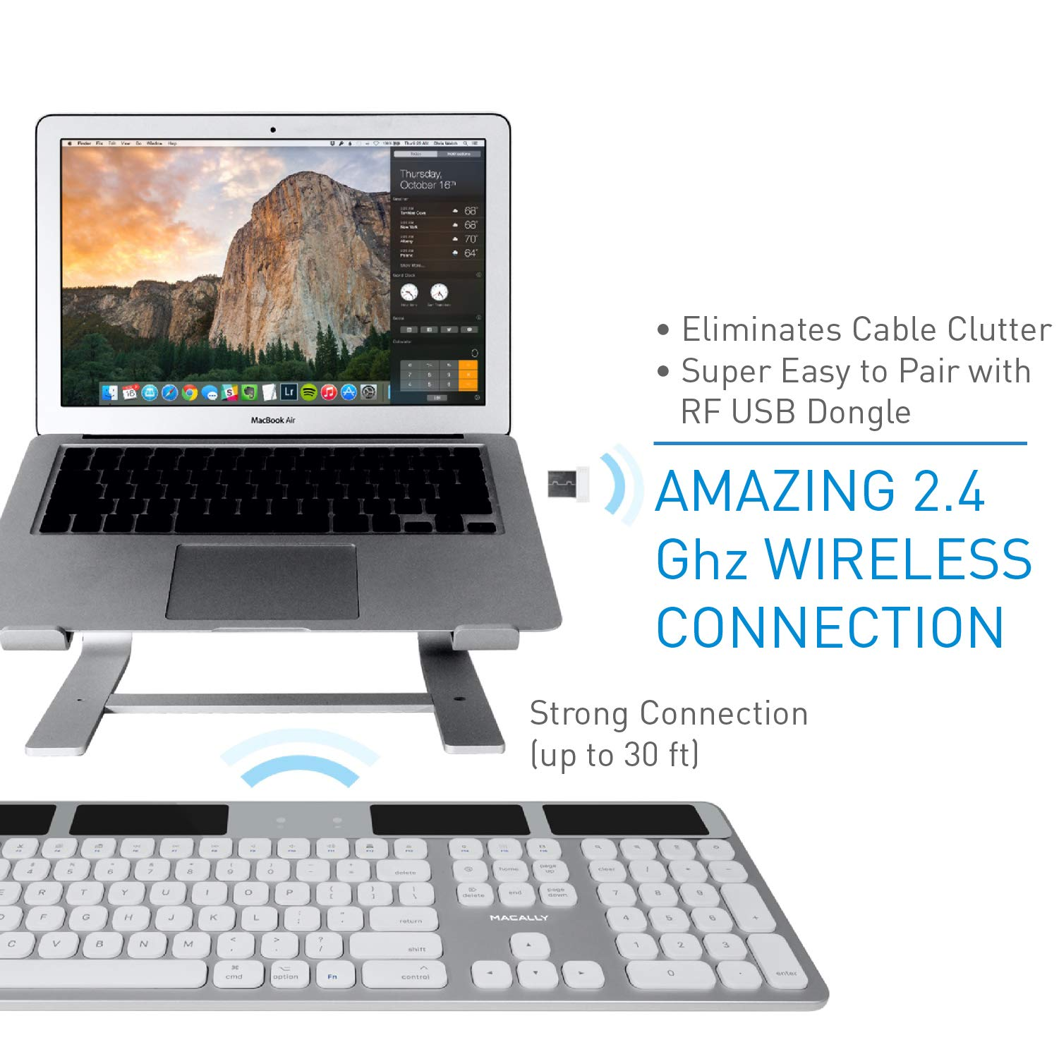 Macally Wireless Solar Keyboard for Mac Mini/Pro, iMac Desktop Computers & Apple MacBook Pro/Air Laptops | 2.4 Ghz RF USB Dongle | Caps Lock/Battery Indicators - Silver Aluminum, Gray by Macally (Image #2)