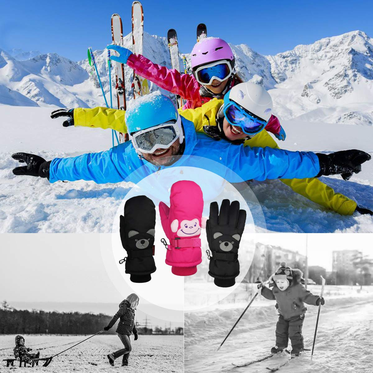per Sport Invernali e Neve per Snowboard Momoon per Bambini Guanti da Sci per Bambini