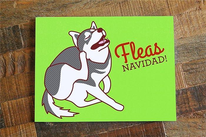 funny dog christmas card fleas navidad dog holiday card pun card - Funny Dog Christmas Cards