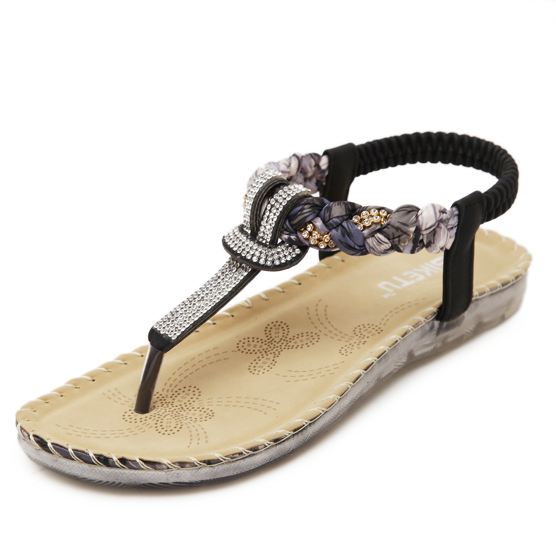 Meeshine Women's Summer Thong Flat Sandals T-Strap Bohemian Rhinestone Slip On Flip Flops Shoes (8 B(M) US, Black 01)