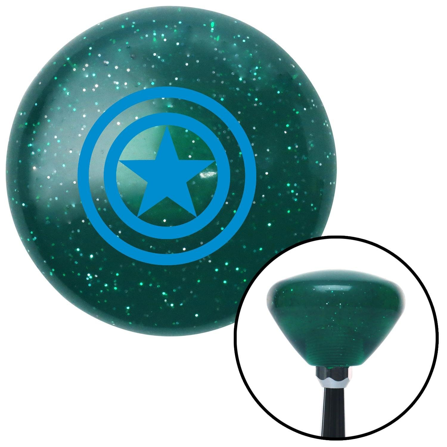 Blue Star Inside Circles American Shifter 207647 Green Retro Metal Flake Shift Knob with M16 x 1.5 Insert