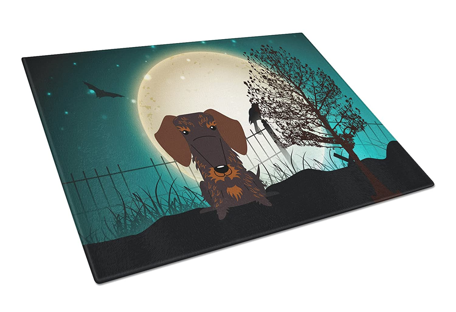Large Carolines Treasures BB2319LCB Halloween Scary Wire Haired Dachshund Chocolate Glass Cutting Board Multicolor
