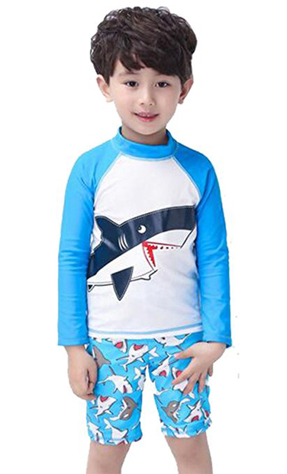 Baby Boys Kids Long Sleeve UV Sun Protection Rash Guards Swimsuit with Hat(Blue, 2-3T(Height:35''-39'')(Weight:22-33lb))
