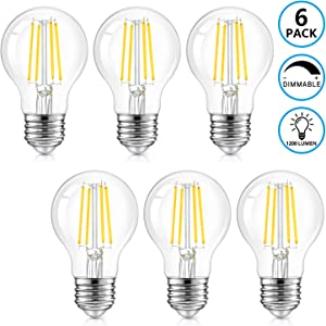 LED A19 Dimmable Light Bulbs 100W Equivalent, 1200LM, 8W Vintage E26 Edison Bulbs 5000K Daylight White, Clear Glass, Retro Filament Style for Home, Cafe, Bar Decor, 6-Pack