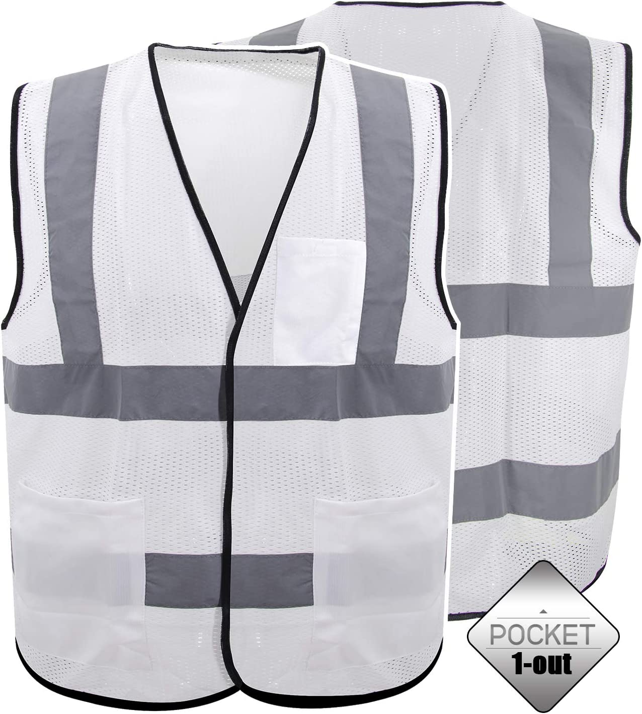 utility workers Zipper closure, Pack of 5 and emergency response personnel Ideal for roadway construction workers survey crews railway and metro workers Worktex Safety WT53005 Safety Vest Designed to ANSI 2015 standards Breathable polyester mesh
