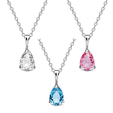 The Gemseller 18K White Gold Plated 45cm Necklace w  3 Tear Drop Swarovski  Crystal Pendants 04e50d2f2b
