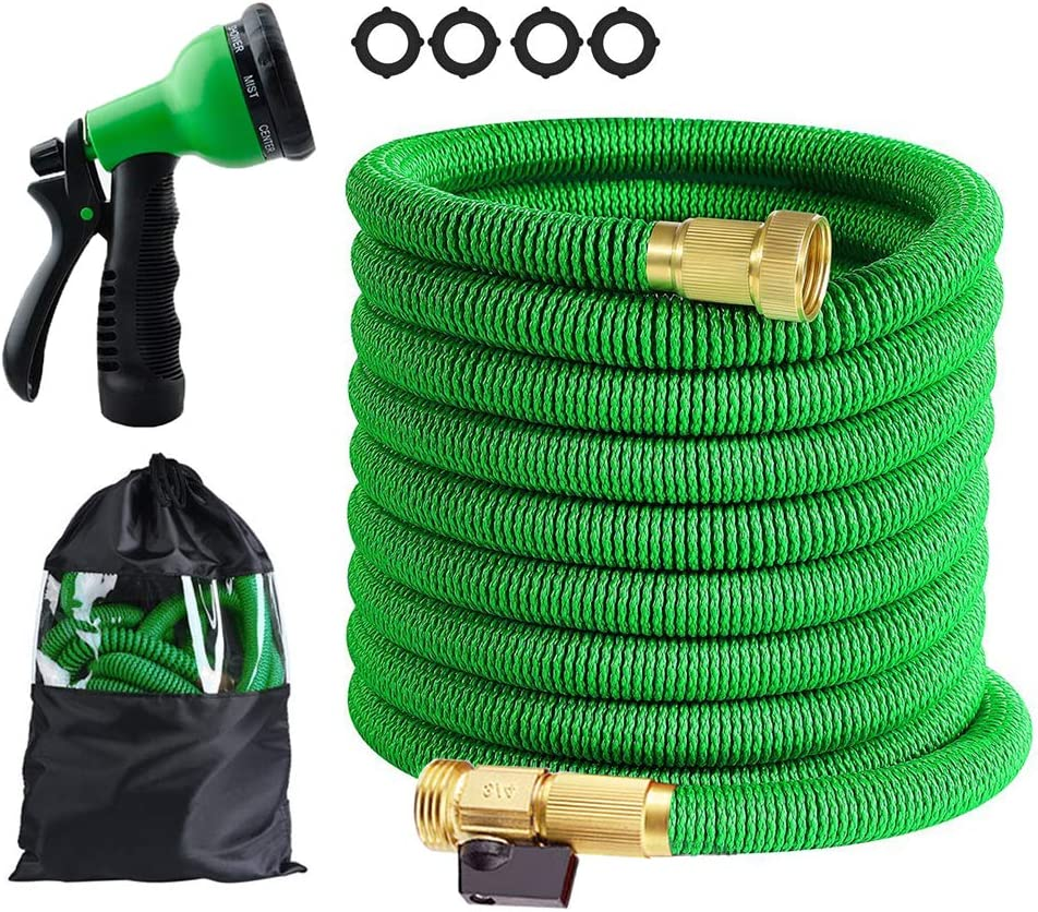 Butifoc 25 ft Garden Hose - Upgraded Expandable Water Hose Kit with 3/4 Solid Brass Connectors Fittings, Valve, 8 Pattern Spray Nozzle, Durable Latex Core - New Expanding Flexible Gardening Hose