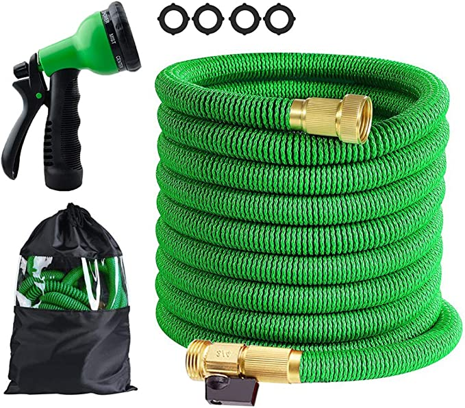 Amazon Com Butifoc 25 Ft Garden Hose Upgraded Expandable Water Hose Kit With 3 4 Solid Brass Connectors Fittings Valve 8 Pattern Spray Nozzle Durable Latex Core New Expanding Flexible Gardening Hose Garden Outdoor