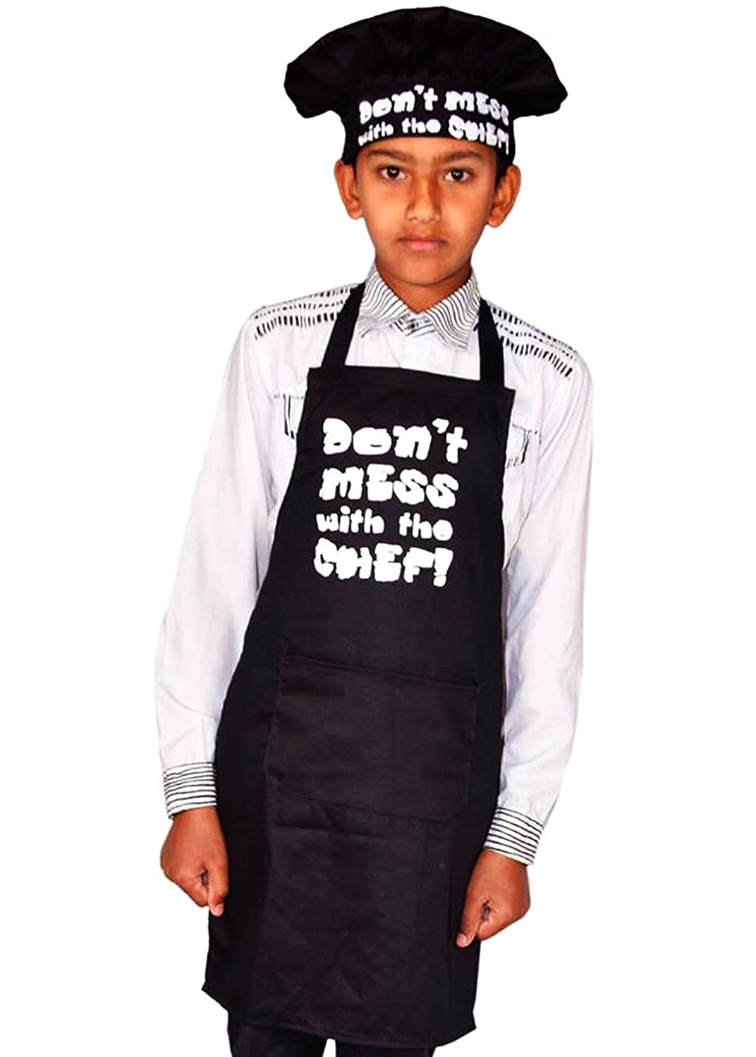 Sterling Smart® Kids Don'T Mess with The Chef Childrens Apron & Hat Set NOVELTY APRON,BLACK, COOKING APRON,BAKEWARE APRON,BBQ APRON Sterling Sports®