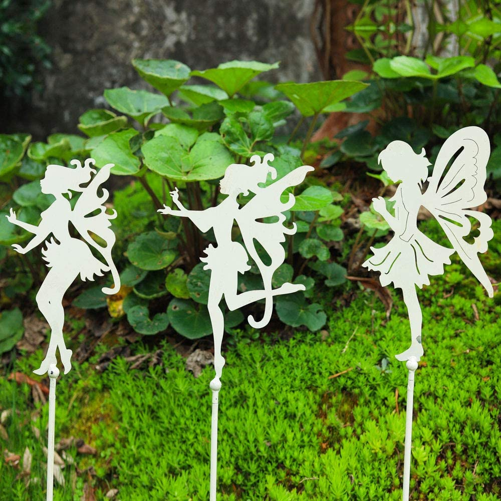 Sungmor Decorative Garden Stakes - Metal Fairy Stick Ornaments - Indoor Outdoor Garden Plant Support - Patio Balcony Lawn Landscaping Decoration - 3PC Pack, Vintage White, 72CM/28INCH Tall