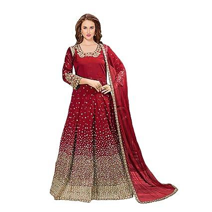 951b8eba55c9f Amazon.com: Red Silk Designer Muslim Bridal Wedding Long Royal Anarkali  Salwar Kameez Suit Abaya Pakistani Festive Dress 712: Home Improvement