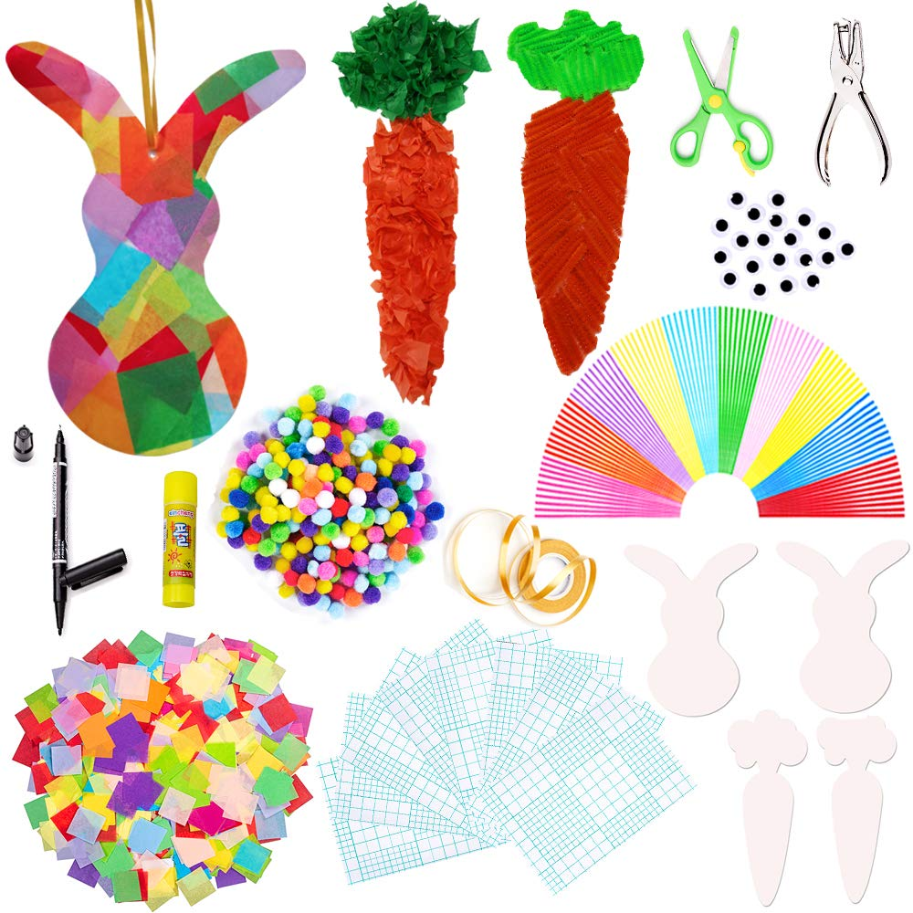 2000 Exquiss Easter Suncatcher Crafts Suncatcher Bunny/&Carrot Crafts with 14 Colors of Tissue Paper Squares and Craft Kits for Kids Easter Crafts Contact Paper Suncatchers Easter DIY Activities
