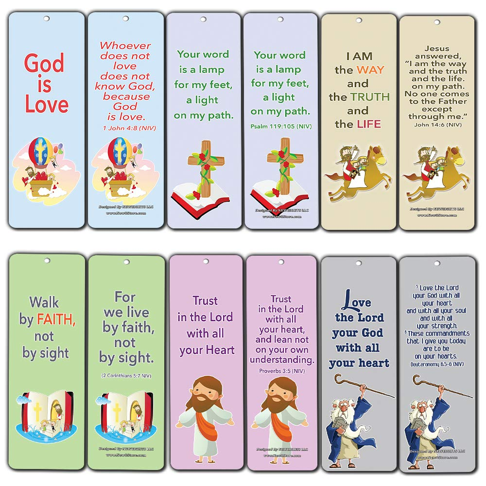 Christian Cards Bookmarks for Kids Boys Girls (60-Pack) - Bible Verses - God is Love & Walk by Faith - Prayer Cards - Great Stocking Stuffers for Easter Baptism Thanksgiving Sunday School Rewards